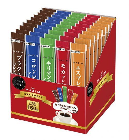 AGF Maxim Растворимый кофе в стиках, 5 видов, в упаковке 50 пакетиков