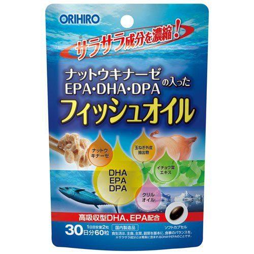 ORIHIRO Наттокиназа+EPA+DHA+DPA+Гинкго Билоба, 60 табл., курс 30 дней