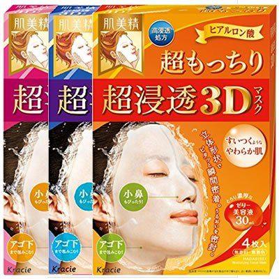Kracie Hadabisei 3D Маски для лица с ультра-проникновением, 4 шт.