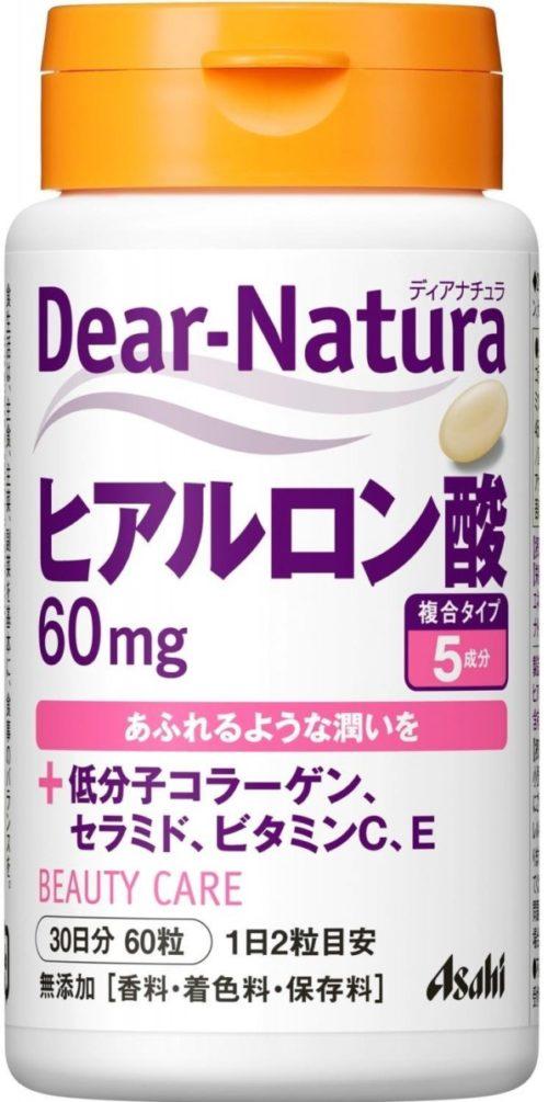 Asahi DEAR NATURA Гиалуроновая кислота с коллагеном, керамидами, витаминами С, Е, 60 таб. на 30 дней