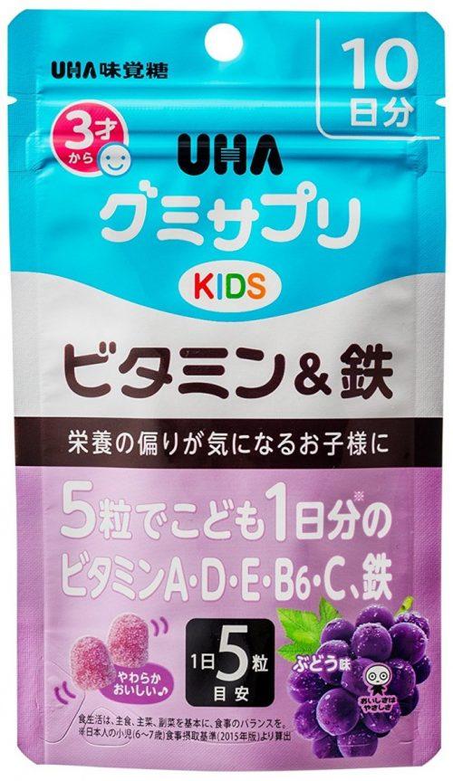 UHA Детские мультивитамины + железо со вкусом винограда, 50 шт.