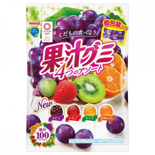 Meiji Juice Gummy Мармелад с фруктовым соком, ассорти, 90 г