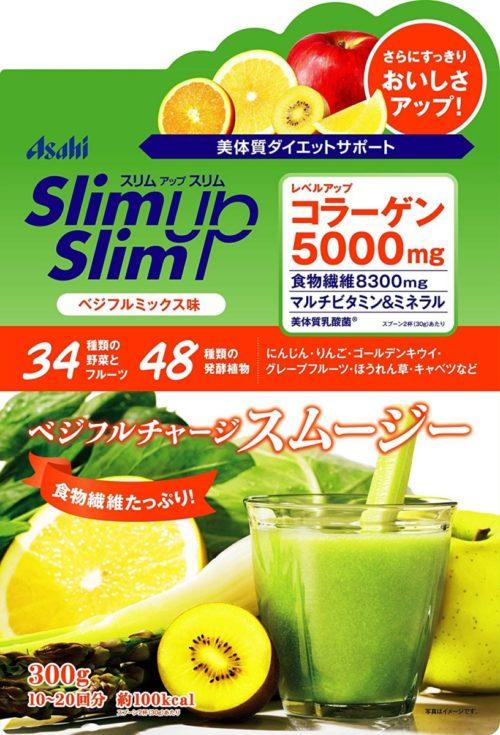 Asahi Slim Up Slim Протеиновый диетический фруктово-овощной смузи, 300 г