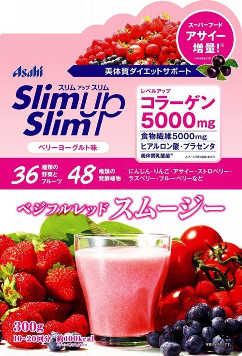 Asahi Slim Up Slim Протеиновый диетический красный фруктово-овощной смузи со вкусом ягодного йогурта, 300 г