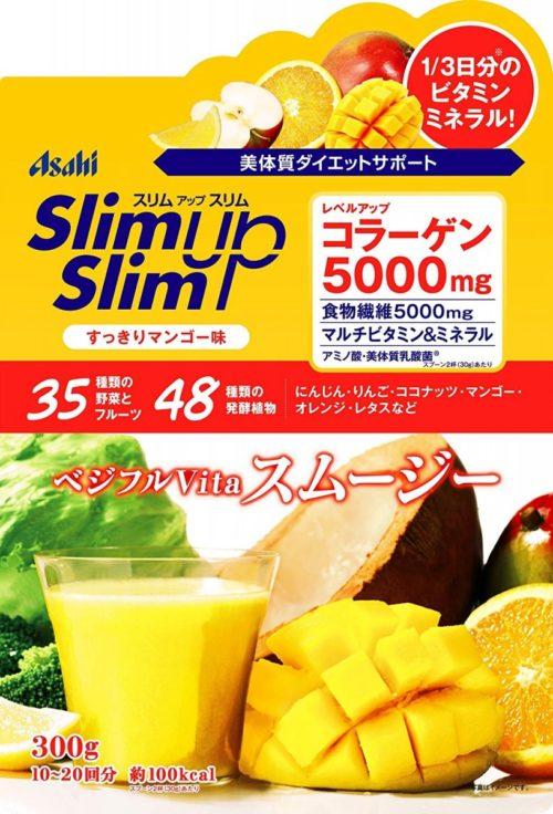 Asahi Slim Up Slim Протеиновый диетический фруктово-овощной смузи со вкусом манго, 300 г