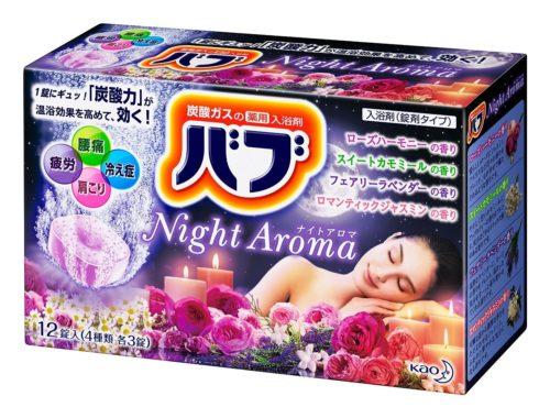 KAO Night aroma Соль для ванны 4 аромата в таблетках, 12 шт.