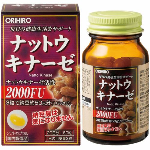 ORIHIRO Nattokinase Наттокиназа, 60 капсул, курс 20 дней
