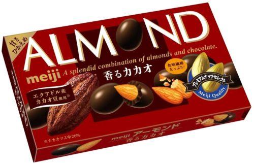 Meiji Almond Cacao Миндаль в шоколаде с какао-бобами, 84 г