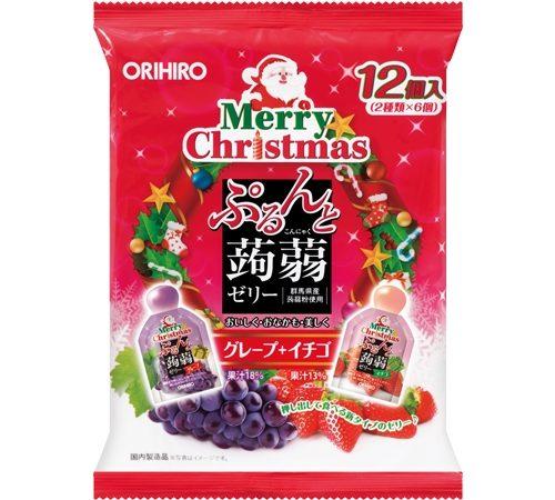 ЛИМИТКА! ORIHIRO Фруктовое порционное желе из конняку Merry Christmas, 12 шт.