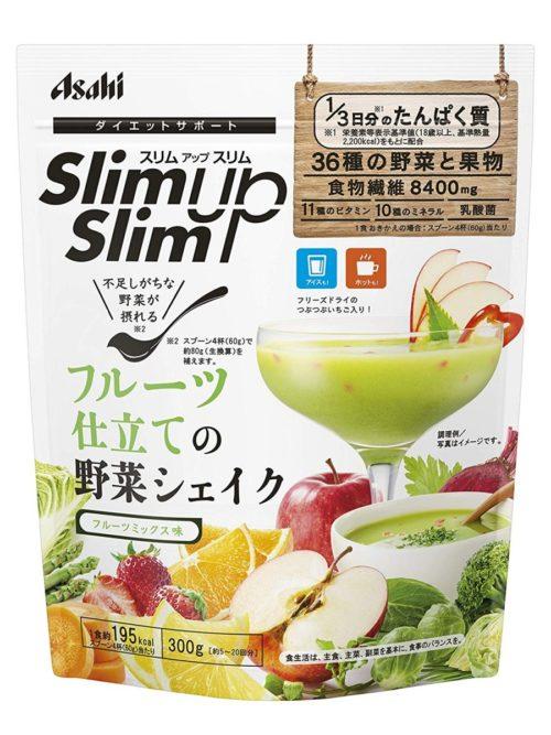ПОДАРОК! Asahi Slim Up Slim Протеиновый диетический коктейль с молочнокислыми бактериями, витаминами со вкусом фруктов, 300 г