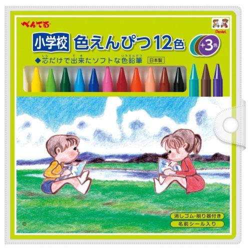 Pentel Цветные карандаши мягкого типа, 12 цветов + 3 в подарок