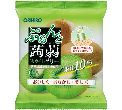 ORIHIRO Purunto Фруктовое порционное желе из конняку, 6 шт.