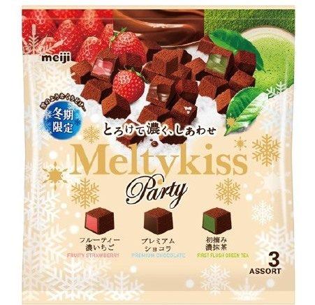 Meiji Melty Kiss Party Assort Мягкий шоколад ассорти три вида — клубника, премиум шоколад и зеленый чай, 150 г
