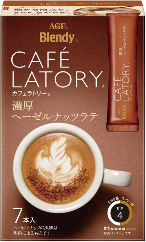 AGF Blendy CAFE LATORY Богатый Латте с лесным орехом в стиках, 7 штук