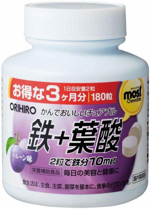 ORIHIRO MOST Железо + фолиевая кислота (жевательные таблетки со вкусом сливы), 180 табл., курс 90 дней