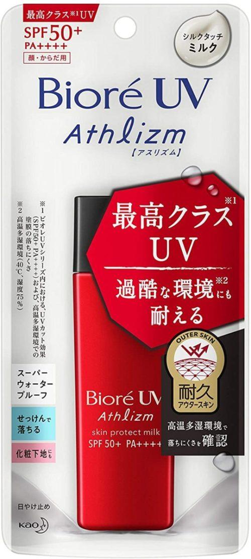 KAO Biore UV Athlizm Skin Protect Milk Длительное солнцезащитное молочко для лица и тела, 65 мл