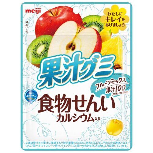 Meiji Fruit Juice Gummy Dietary Fiber Мармелад с клетчаткой и кальцием Фруктовый микс, 68 г